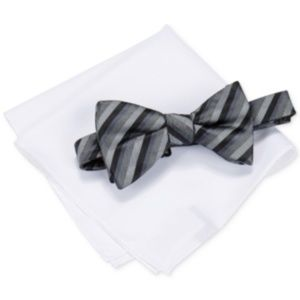 Alfani Mens Walsh Stripe Bow Tie Black One Size